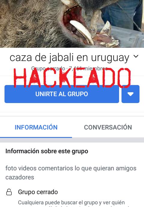Comunicado de hackeo a grupo de cacería